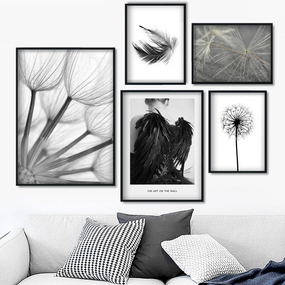 Black White Girl Feather Dandelion Landscape Wall Art Canvas Painting Nordic Posters Prints Wall Pictures For Living Room Decor Painting Calligraphy Aliexpress