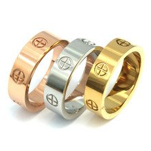 PZ Stainless Steel Top quality women men Jewelry love rings luxury wedding bijoux couple lovers rings()