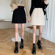 Женские вельветовые юбки в стиле ретро с завышенной талией Осень