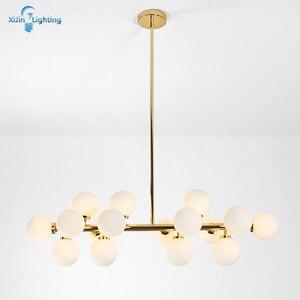 Современные светодиодные люстры, домашнее освещение, стеклянная комнатная лампа для гостиной, спальни, волшебные бобы, подвесные лампы, Зол...