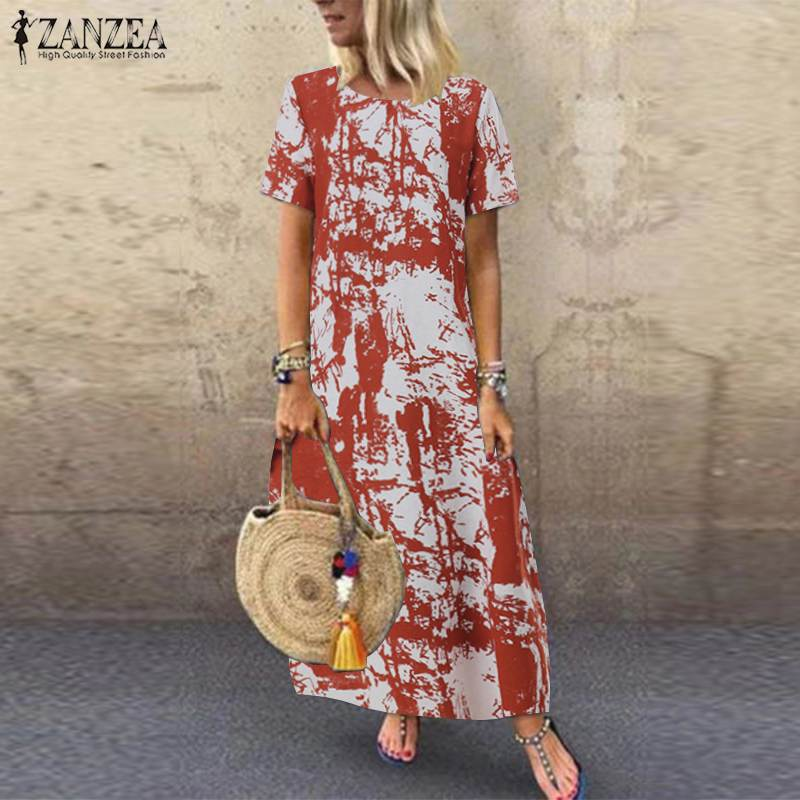 Summer Printed Maxi Dress Women's Sundress ZANZEA 2019 Casual Short Sleeve Vestidos Kaftan Female Graffiti Party Robe Plus Size