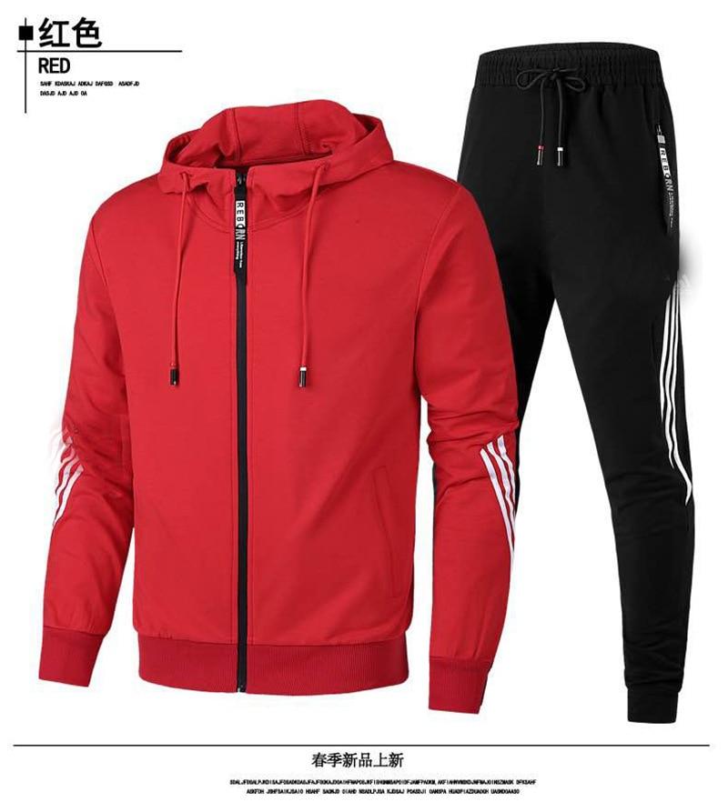 Новинка 2020, брендовая одежда, горячая Распродажа, мужская толстовка с капюшоном на молнии и брюки в 3 полоску, повседневная спортивная одежд...
