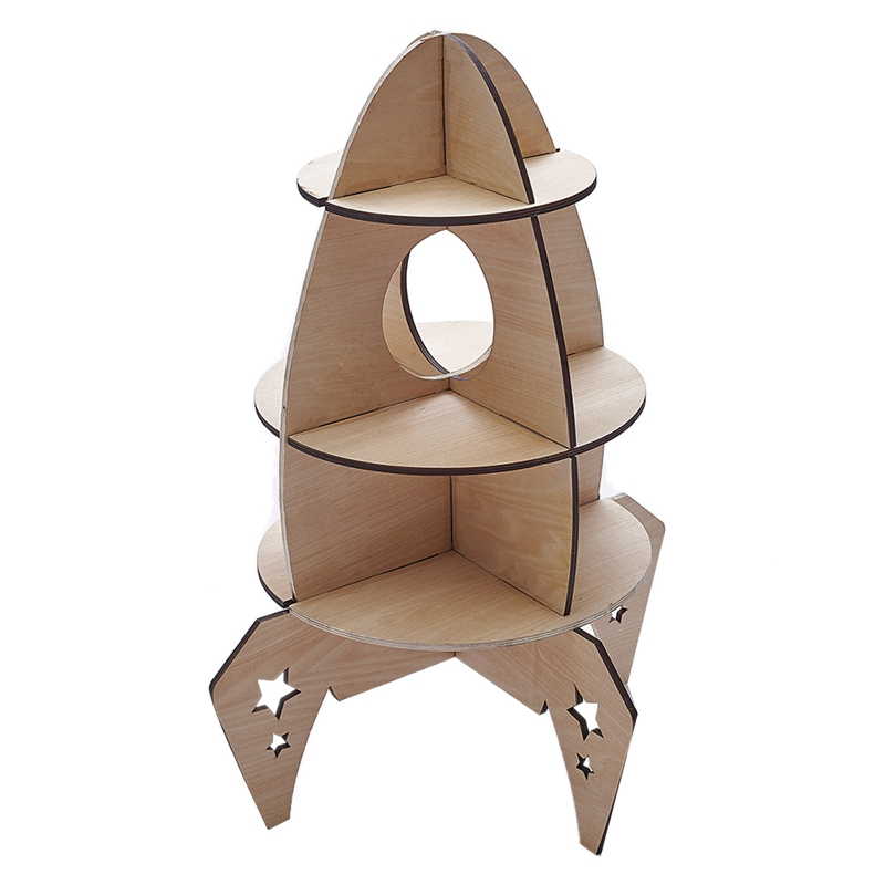 DIY Nordic Woden Toys Three-Dimensional Rocket Model For Children's Room Decorations Shelf Home Accessories
