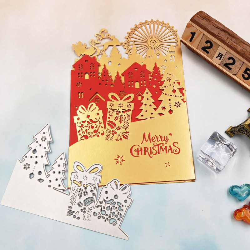 Купить с кэшбэком WYSE Christmas Metal Cutting dies Santa Dies Snowflake Tree Dies Deer Sled Die scrapbooking for DIY Craft Paper Card Template
