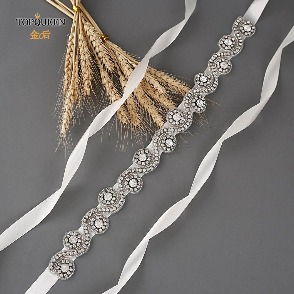 TOPQUEEN S10 Bridal Belts Silver Diamond Belt Wedding Accessories Belts For Women Wedding Dress Sash Belt For The Bride