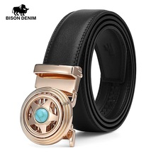 BISON DENIM Cow Genuine Leather Men Belt Automatic Alloy Rotatable Buckle Luxury Cowskin Fashion Strap for Male N71508