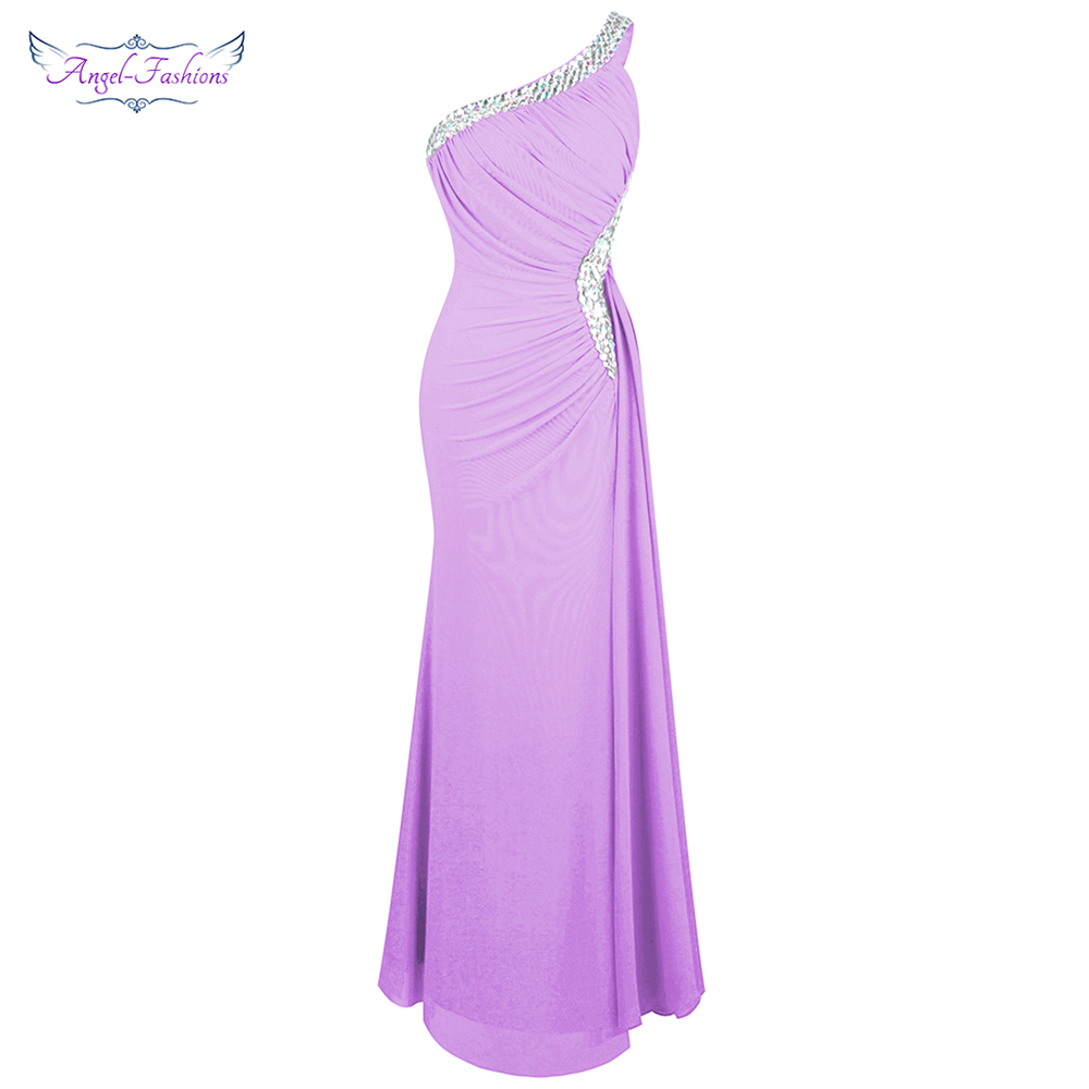 Angel-fashions Women's Elegant Evening Dresses Beading One Shoulder Pleated Slit Maxi Bodycon Party Gown Light Purple 411
