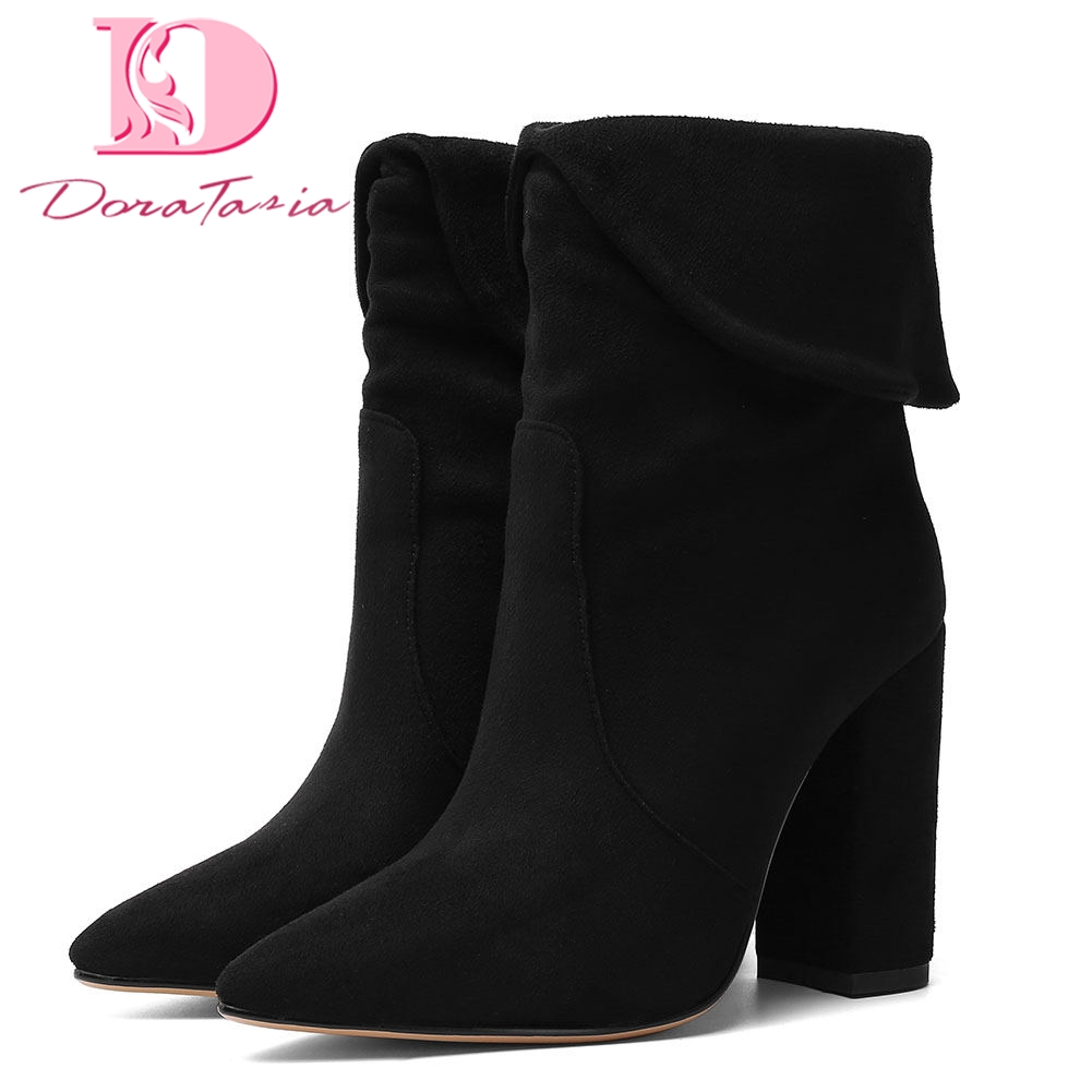 Doratasia women's Brand Best Qaulity Sexy Big Size 43 square High Heels Shoes Woman Western Boots Female Retro Lady Ankle Boot