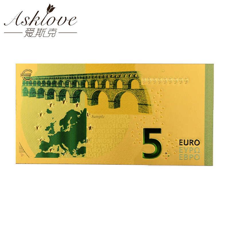 Euro Banconote in Oro 24K Lamina D'oro Falso Soldi di Carta per La Raccolta Souvenir Euro Banconota Set di 5 10 20 50 euro Banconote Del Campione