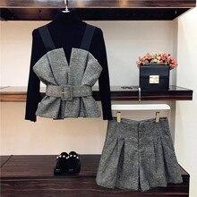 HAMALIEL осенний Женский комплект из 3 предметов, модный вязаный черный свитер с круглым вырезом+ серые клетчатые топы с бретельками+ широкие шорты