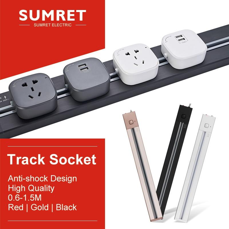 Track Socket Socketable Socketbar Electric Power Extender Wall Slide Outlet For Kitchen Bedroom Desk Table EU UK Usb Adapters