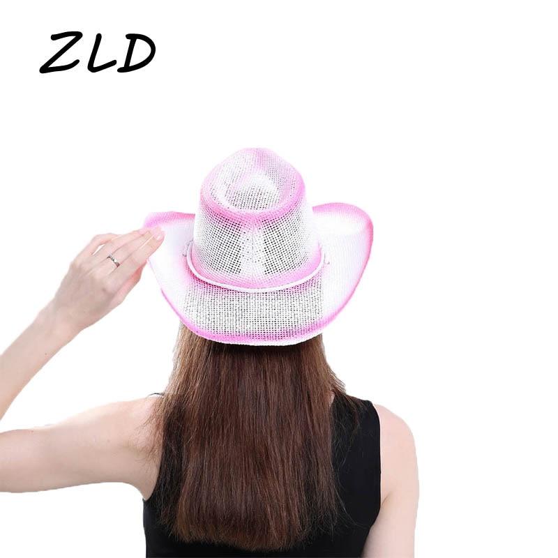 Fashion Pink Hollow-out Baking Paint Western Cowboy Hat Sun Protection Hats Beach Panama Cap Summer Beach Travel Sunhat