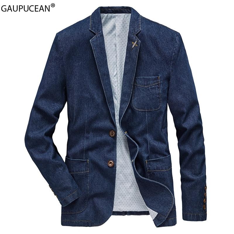 Cotton Men Denim Suit Jacket Single Breasted Pockets Blue Casual Street Spring Autumn Male Outwear Slim Man Cowboy Blazer 1