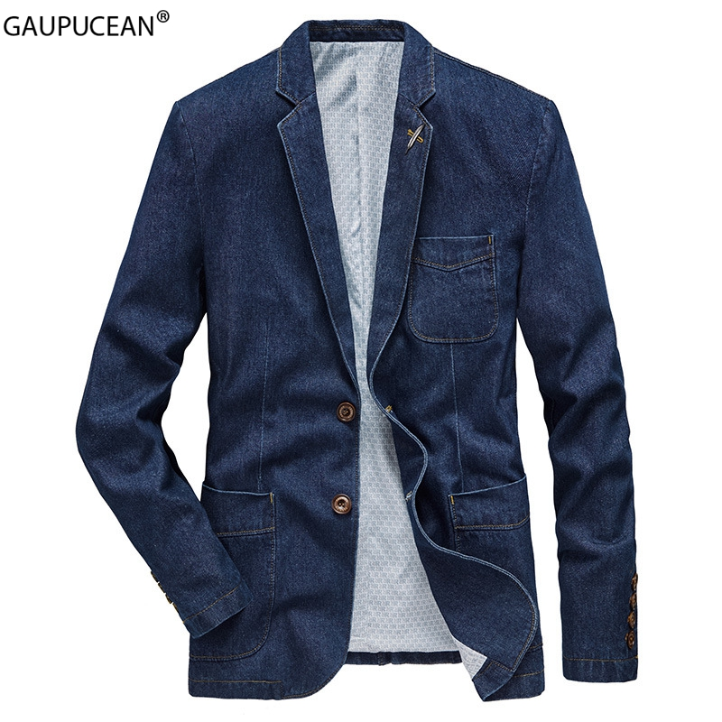 Cotton Men Denim Suit Jacket Single Breasted Pockets Blue Casual Street Spring Autumn Male Outwear Slim Man Cowboy Blazer