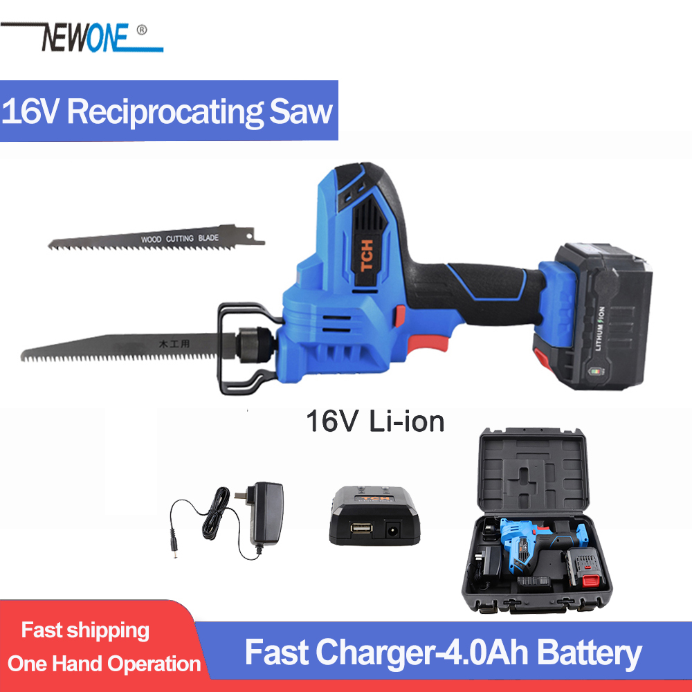 16V MAX Cordless 4Ah Lithium Battery Reciprocating Saw Kit With 2x Wood Blades For Wood & Metal Cutting