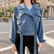 New Fashion 2020 Blue Jeans Jacket Women Streetwear Loose Fall Spring Denim Jackets Vintage With Belt Short Trench Coat Femme