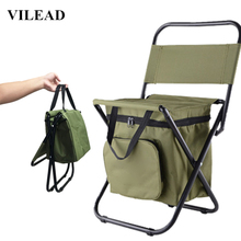 VILEAD Folding Portable Camping Cooler Chair Picnic Fishing Beach Hiking Outdoor Backpack Ultralight Seat Table Camping Stools