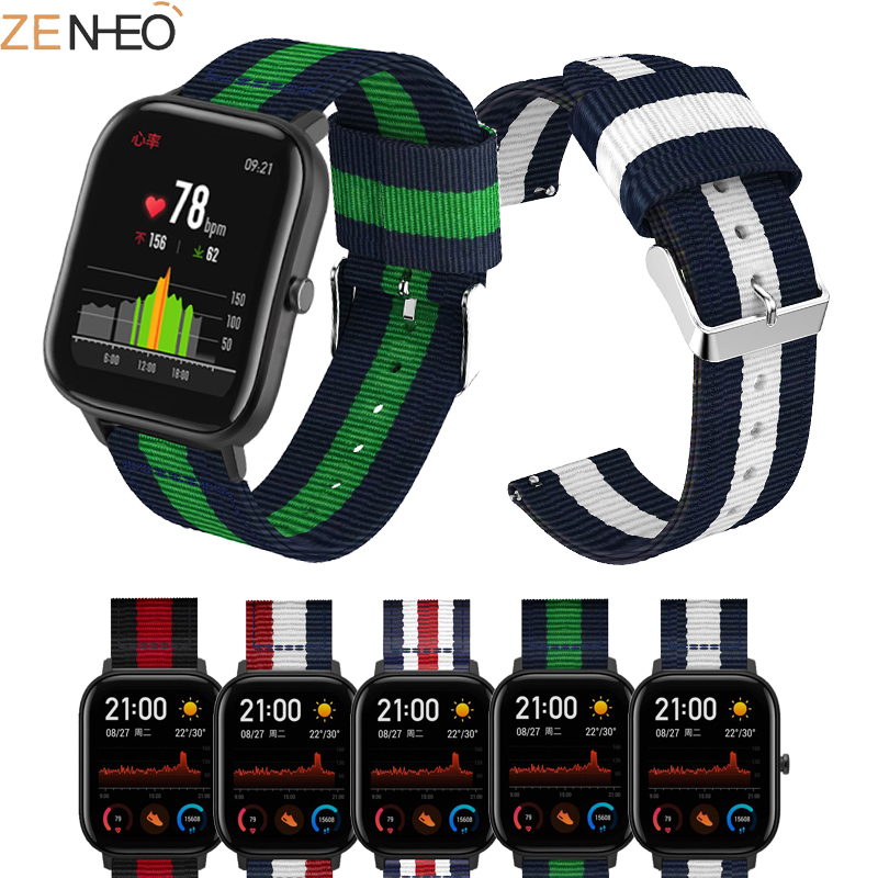 For Huami Amazfit <font><b>GTS</b></font> Bip Pace Lite Youth <font><b>20mm</b></font> Nylon bands replacement For Samsung gear s2/sport Galaxy <font><b>watch</b></font> 42mm wrist <font><b>strap</b></font> image