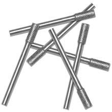 5 шт. Алмаз покрытие цилиндрический заусенец 3% 2F4% 2F5% 2F6% 2F8% 2F10 мм бензопила точилка камень напильник цепь пила заточка резьба шлифование инструменты