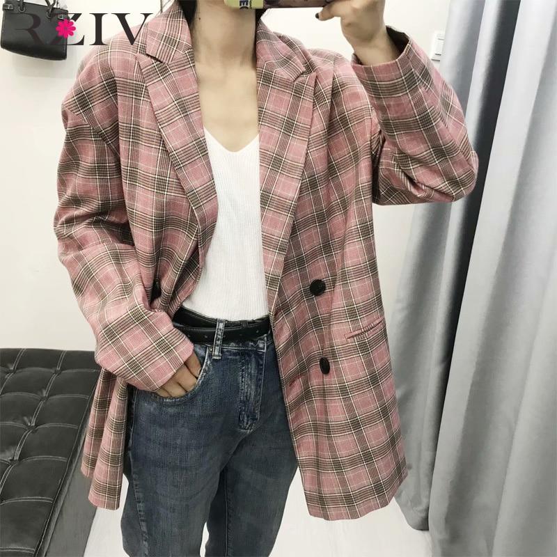 RZIV Autumn Women's Suit Casual Plaid Double-breasted Loose Suit Vestidos