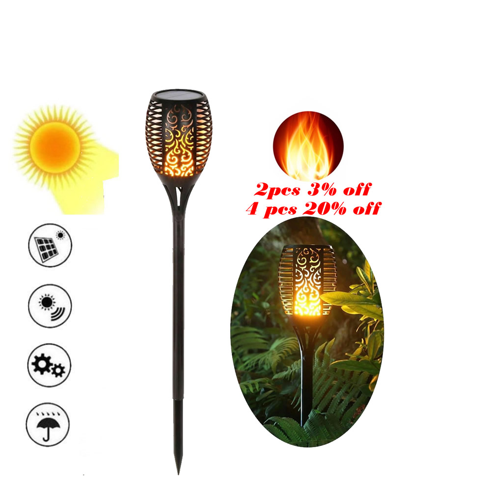 Lawn Dancing Flame Torch Lights Radar Led Solar Tiki Lamp Indoor Outdoor Street Camps Wall Landscape Flame Lamp Flickering Bulb