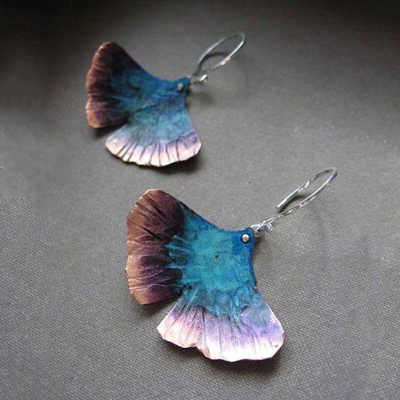 Vintage Ginkgo Biloba Metal Leaf Dangle Earrings Boho Ethnic Mystic Statement Earrings Pendant Mujer Z4D273