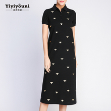 Yiyiyouni Long Bee Print Turn-down Shirt Dresses Women 2019 Summer Casual Straight Ankle-Length Polo Dress Female Pockets Cotton