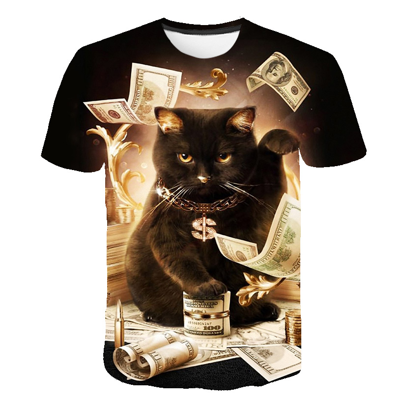 Fashion 2019 New Cool T-shirt Men/Women 3d Tshirt Print Two Cat Short Sleeve Summer Tops Tees T Shirt Printed Tee