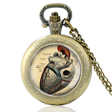 High Quality  Vintage Heart Break Glass Dome Quartz Pocket Watch Bronze Men Women Necklace Pendant Gifts