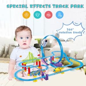 Montaña Rusa eléctrica Diy, montaña rusa competitiva con efectos de sonido, juego familiar, juguetes y regalos para niños
