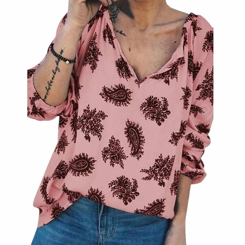 Otoño suelto cuello V botón verano dibujos animados hojas impresión suelta manga larga Vintage Tops Casual Simple blusa salvaje mujer 2019 *