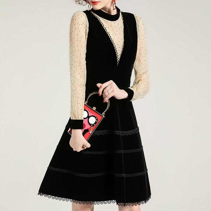 Manches longues robe femmes 2020 printemps nouvelle mode Patchwork mince taille bureau dame une ligne genou longueur robe femme S XL - 6