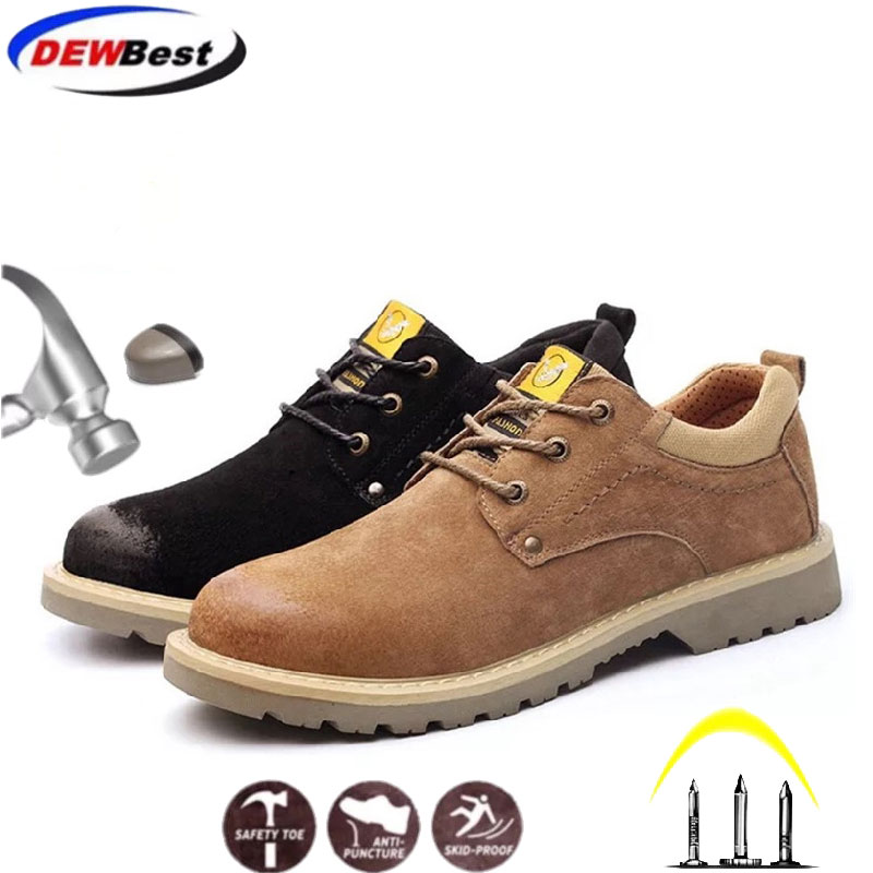 Men Work & Safety Shoes Men Steel Toe Caps Anti-smashing Anti-puncture Construction Work Boots Non-slip Security Shoes  New