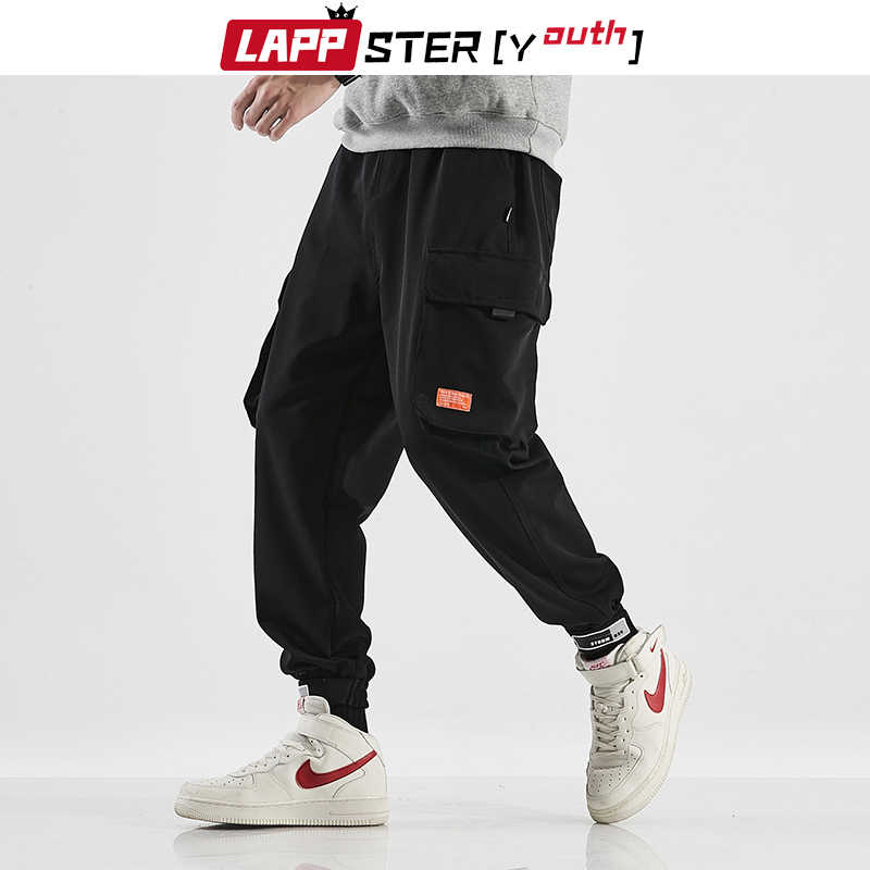 Lappster-青年男性黒原宿ハーレムパンツ 2020 オーバーオールメンズヴィンテージカーゴパンツ男性韓国のスウェットパンツ