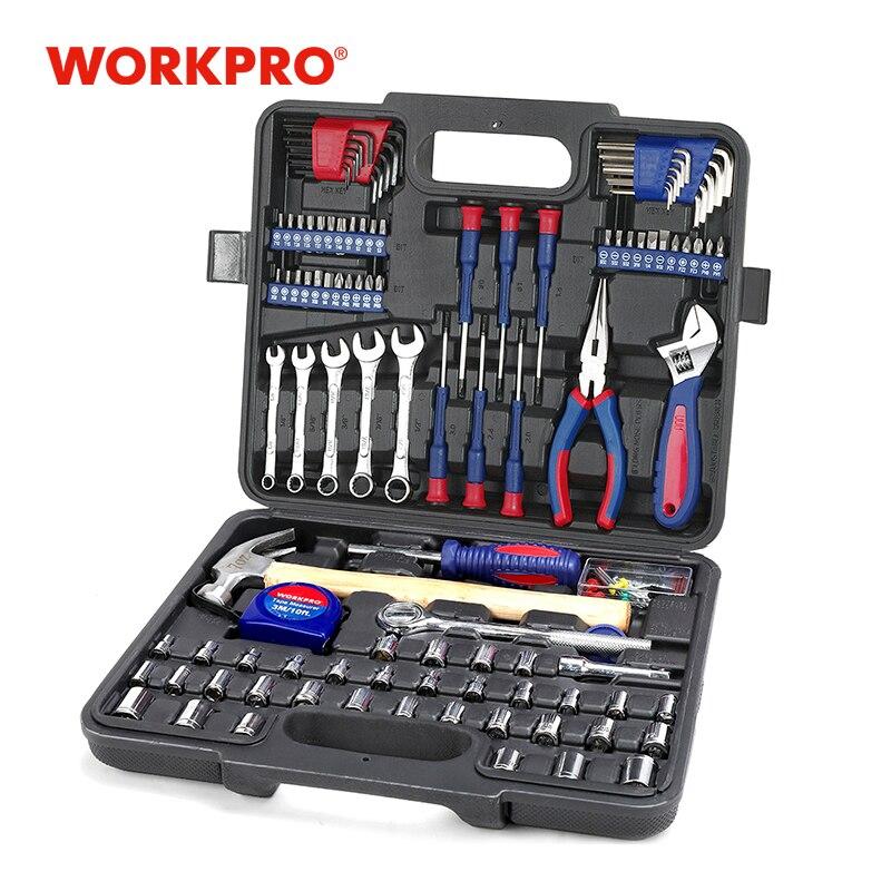 Juego de Herramientas para el hogar de WORKPRO, juego de enchufes y destornilladores, herramientas de reparación para el hogar, herramientas manuales de bricolaje