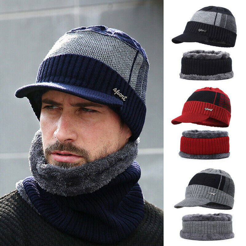 2pcs Men Winter Warm Hat Knit Visor Beanie Fleece Lined Beanie With Brim Cap Hat Scarf Set Warm Knitted Skull Cap With Scarf