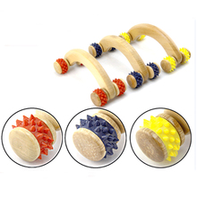 Four Wheels Fitness Belly Massager Wooden Roller Body