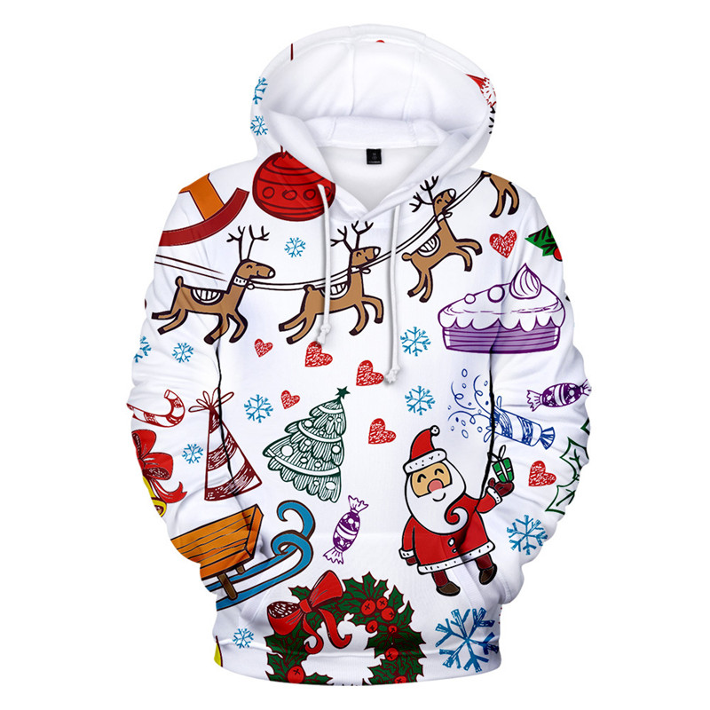 Ugly Christmas Sweater Christmas Unisex Men Women Santa Claus Christmas Novelty Snowman 3D Print Hooded Sweater Warm Sweater