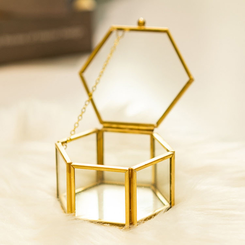 Wedding Glass Geometry Container Ring Box Makeup Organizer Jewelry Storage Box Everlasting Flower Micro Landscape Glass Cover