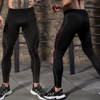 Męskie spodnie kompresyjne męskie obcisłe spodnie sportowe kolor szwów spodnie treningowe szybkoschnące spodenki do ćwiczeń legginsy treningowe tanie i dobre opinie POLIESTER spandex CN (pochodzenie) Bieganie Dobrze pasuje do rozmiaru wybierz swój normalny rozmiar Stałe 91302 FULL
