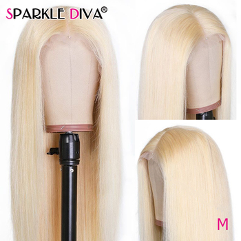 613 Blonde Lace Front Wig Brazilian Straight Human Hair Wigs For Women Middle Part 13*1 Lace Front Wig 613 Honey Blonde Remy