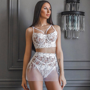 3PC Ladies Sexy Seductive Embroidered Lace Underwire Bra + Mini Skirt Snd Thong Lenceria Erotic Apparel Lingerie Sexy Costumes