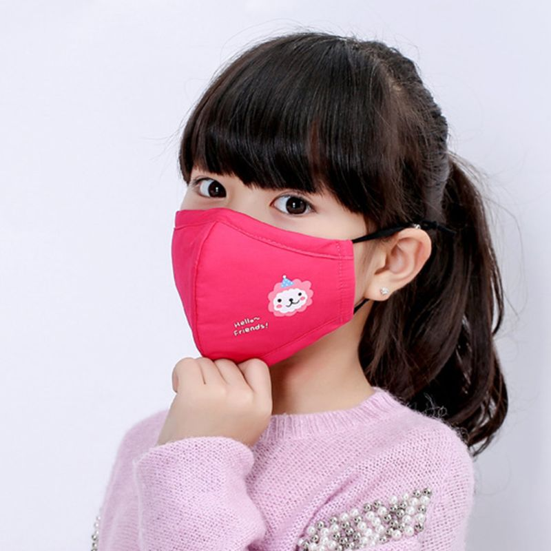 Cute Kids PM2.5 Anti-Dust Mask With Filter Cotton Mouth Cartoon Masks Respirator 95AB