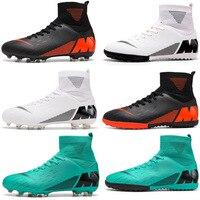 Sapatas de futebol dos homens botas de futebol de alta tornozelo longo spikes meninos botas de treinamento do esporte tênis masculinos sapatos de futebol zapatos de futbol