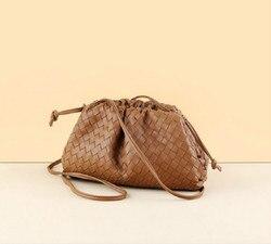 De Pouch Real Lederen Geweven Envelop Tas Breien Luxe Vrouwen Tassen Design Volumineuze Afgeronde Vorm Portemonnees en Handtassen Clutch
