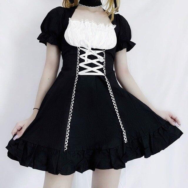 QWEEK Women's Maid Dress Kawaii Lolita Outfit French Maid Costumes Cosplay Bandage Dress Sexy Waitress Dress Puff Sleeve Uniform 1