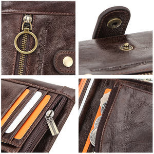 Image 5 - CONTACTS 100% Genuine Leather Wallet Men Bifold Wallets RFID Blocking Coin Purse Zipper Walet Card Holder Small Pocket Carteira