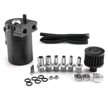 Oil Catch Reservoir Breather Can Tank Filter Kit with Drain Valve Aluminum fuel tank  can oil tank catch chrome aluminum double hole 19mm oil catch tank racing oil can catch tank can oil catch tank oil catch can