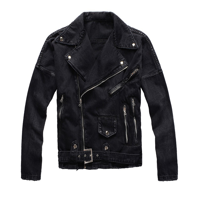 American Streetwear Fashion Men Jacket Top Quality Brand Designer Zipper Hip Hop Jacket Men Denim Punk Coat Biker Jackets Hombre