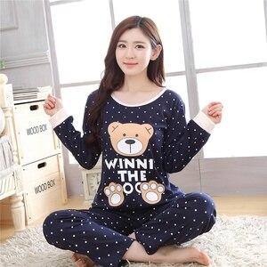 korean Kawaii Velent Sleepwear Women Pajama Set Lingerie Set Nightwear Cartoon Printed Long SleeveHome Wear Sweet Long Sleepwear